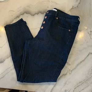 Loft// button up, high waisted jeans, size 12